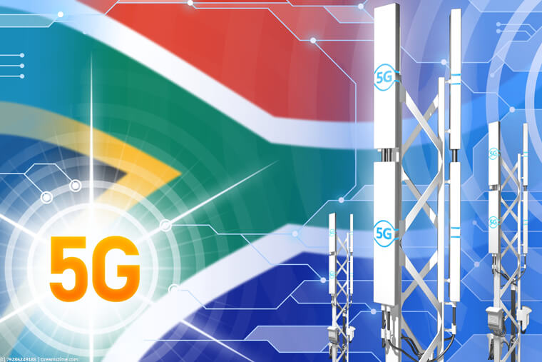 South Africa flag with 5G masts