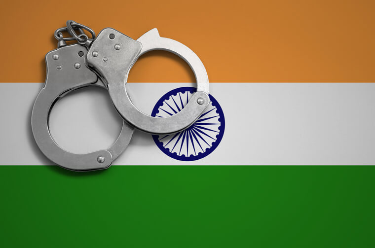 Indian flag with handcuffs