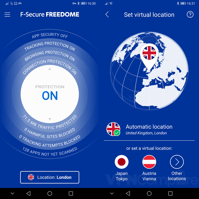 Freedome Android app