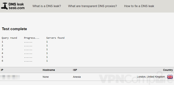 Freedome DNS Leak test