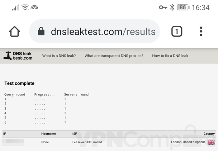 Freedome mobile DNS leak