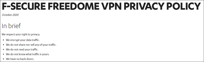 Freedome privacy policy