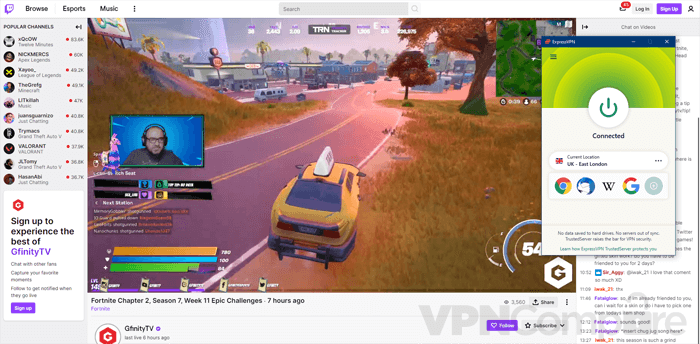 Using ExpressVPN app on Twitch